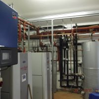 Solar PV heat pumps and thermal - Exeter, Plant room